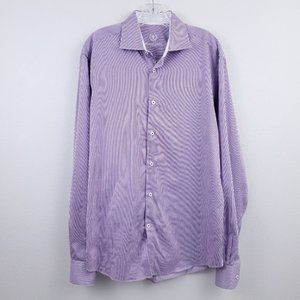 Bugatchi Purple Striped Button Down Dress Shirt